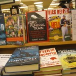 "June 2011, ""FDR's Funeral Train"" appears (here, on the center table of Barnes & Noble at East 86th Street in Manhattan.)"